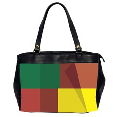 Albers Out Plaid Green Pink Yellow Red Line Office Handbags (2 Sides)  by Mariart