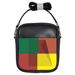 Albers Out Plaid Green Pink Yellow Red Line Girls Sling Bags by Mariart