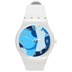 Blue Polka Round Plastic Sport Watch (m) by Mariart