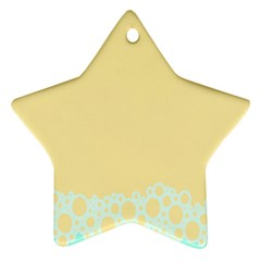 Bubbles Yellow Blue White Polka Ornament (star) by Mariart