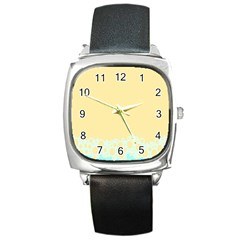 Bubbles Yellow Blue White Polka Square Metal Watch by Mariart