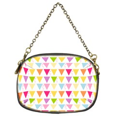 Bunting Triangle Color Rainbow Chain Purses (two Sides)  by Mariart