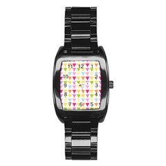 Bunting Triangle Color Rainbow Stainless Steel Barrel Watch by Mariart
