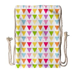 Bunting Triangle Color Rainbow Drawstring Bag (large) by Mariart