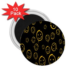 Face Smile Bored Mask Yellow Black 2 25  Magnets (10 Pack)  by Mariart