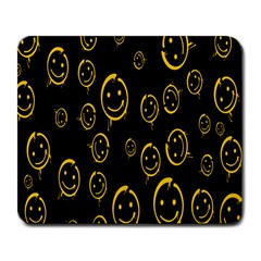 Face Smile Bored Mask Yellow Black Large Mousepads by Mariart