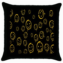 Face Smile Bored Mask Yellow Black Throw Pillow Case (black) by Mariart