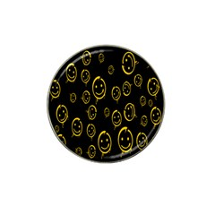 Face Smile Bored Mask Yellow Black Hat Clip Ball Marker (4 Pack) by Mariart