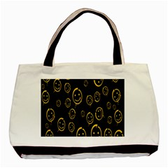 Face Smile Bored Mask Yellow Black Basic Tote Bag by Mariart