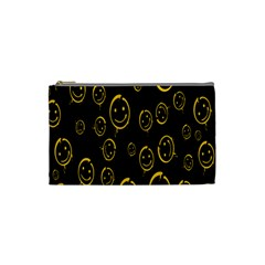 Face Smile Bored Mask Yellow Black Cosmetic Bag (small)  by Mariart