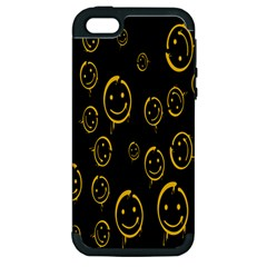 Face Smile Bored Mask Yellow Black Apple Iphone 5 Hardshell Case (pc+silicone) by Mariart