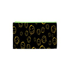 Face Smile Bored Mask Yellow Black Cosmetic Bag (xs) by Mariart
