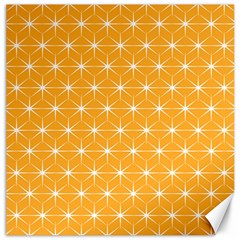 Yellow Stars Iso Line White Canvas 12  X 12   by Mariart
