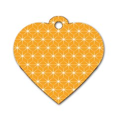 Yellow Stars Iso Line White Dog Tag Heart (one Side) by Mariart