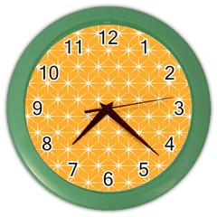 Yellow Stars Iso Line White Color Wall Clocks by Mariart