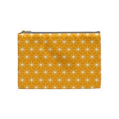 Yellow Stars Iso Line White Cosmetic Bag (medium)  by Mariart