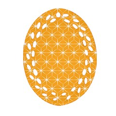 Yellow Stars Iso Line White Ornament (oval Filigree) by Mariart