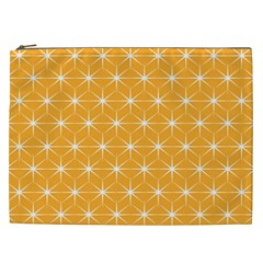 Yellow Stars Iso Line White Cosmetic Bag (xxl)  by Mariart