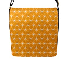 Yellow Stars Iso Line White Flap Messenger Bag (l)  by Mariart