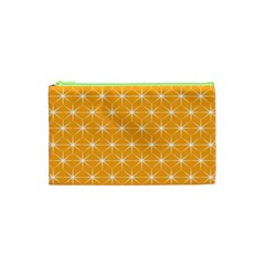 Yellow Stars Iso Line White Cosmetic Bag (xs) by Mariart