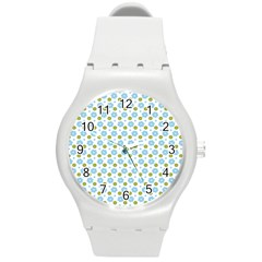 Blue Yellow Star Sunflower Flower Floral Round Plastic Sport Watch (m) by Mariart