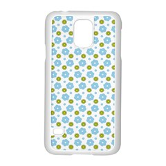 Blue Yellow Star Sunflower Flower Floral Samsung Galaxy S5 Case (white) by Mariart