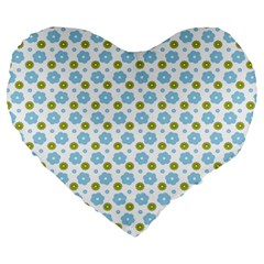 Blue Yellow Star Sunflower Flower Floral Large 19  Premium Flano Heart Shape Cushions by Mariart