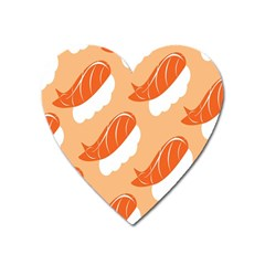 Fish Eat Japanese Sushi Heart Magnet by Mariart