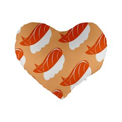 Fish Eat Japanese Sushi Standard 16  Premium Flano Heart Shape Cushions by Mariart