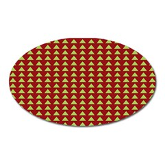 Hawthorn Sharkstooth Triangle Green Red Oval Magnet by Mariart
