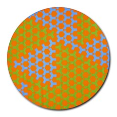 Green Blue Orange Round Mousepads by Mariart