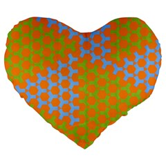 Green Blue Orange Large 19  Premium Flano Heart Shape Cushions by Mariart