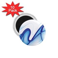 Glittering Abstract Lines Blue Wave Chefron 1 75  Magnets (10 Pack)  by Mariart