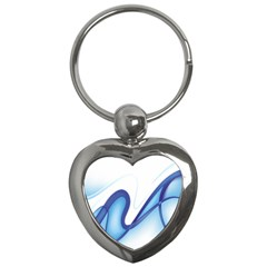 Glittering Abstract Lines Blue Wave Chefron Key Chains (heart)  by Mariart