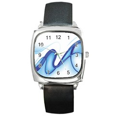 Glittering Abstract Lines Blue Wave Chefron Square Metal Watch by Mariart