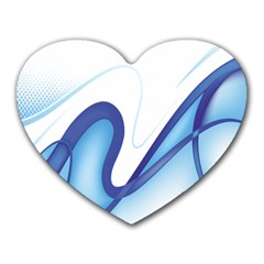 Glittering Abstract Lines Blue Wave Chefron Heart Mousepads by Mariart