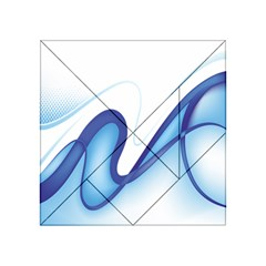 Glittering Abstract Lines Blue Wave Chefron Acrylic Tangram Puzzle (4  X 4 ) by Mariart