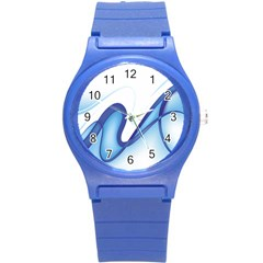 Glittering Abstract Lines Blue Wave Chefron Round Plastic Sport Watch (s) by Mariart