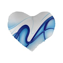 Glittering Abstract Lines Blue Wave Chefron Standard 16  Premium Flano Heart Shape Cushions by Mariart