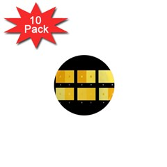 Horizontal Color Scheme Plaid Black Yellow 1  Mini Magnet (10 Pack)  by Mariart