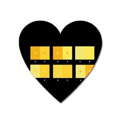 Horizontal Color Scheme Plaid Black Yellow Heart Magnet by Mariart
