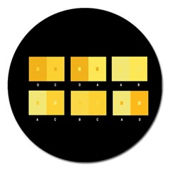 Horizontal Color Scheme Plaid Black Yellow Magnet 5  (round) by Mariart