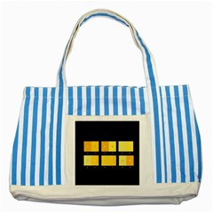 Horizontal Color Scheme Plaid Black Yellow Striped Blue Tote Bag by Mariart