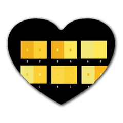 Horizontal Color Scheme Plaid Black Yellow Heart Mousepads by Mariart