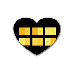 Horizontal Color Scheme Plaid Black Yellow Rubber Coaster (heart)  by Mariart