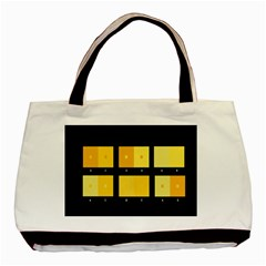 Horizontal Color Scheme Plaid Black Yellow Basic Tote Bag (two Sides) by Mariart