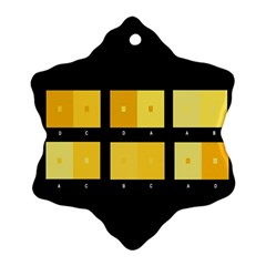 Horizontal Color Scheme Plaid Black Yellow Snowflake Ornament (two Sides) by Mariart