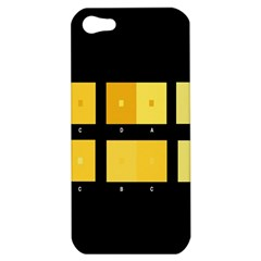Horizontal Color Scheme Plaid Black Yellow Apple Iphone 5 Hardshell Case by Mariart