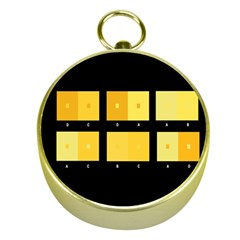 Horizontal Color Scheme Plaid Black Yellow Gold Compasses by Mariart