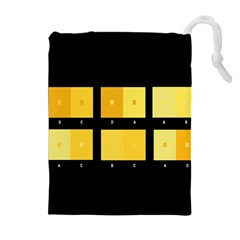 Horizontal Color Scheme Plaid Black Yellow Drawstring Pouches (extra Large) by Mariart